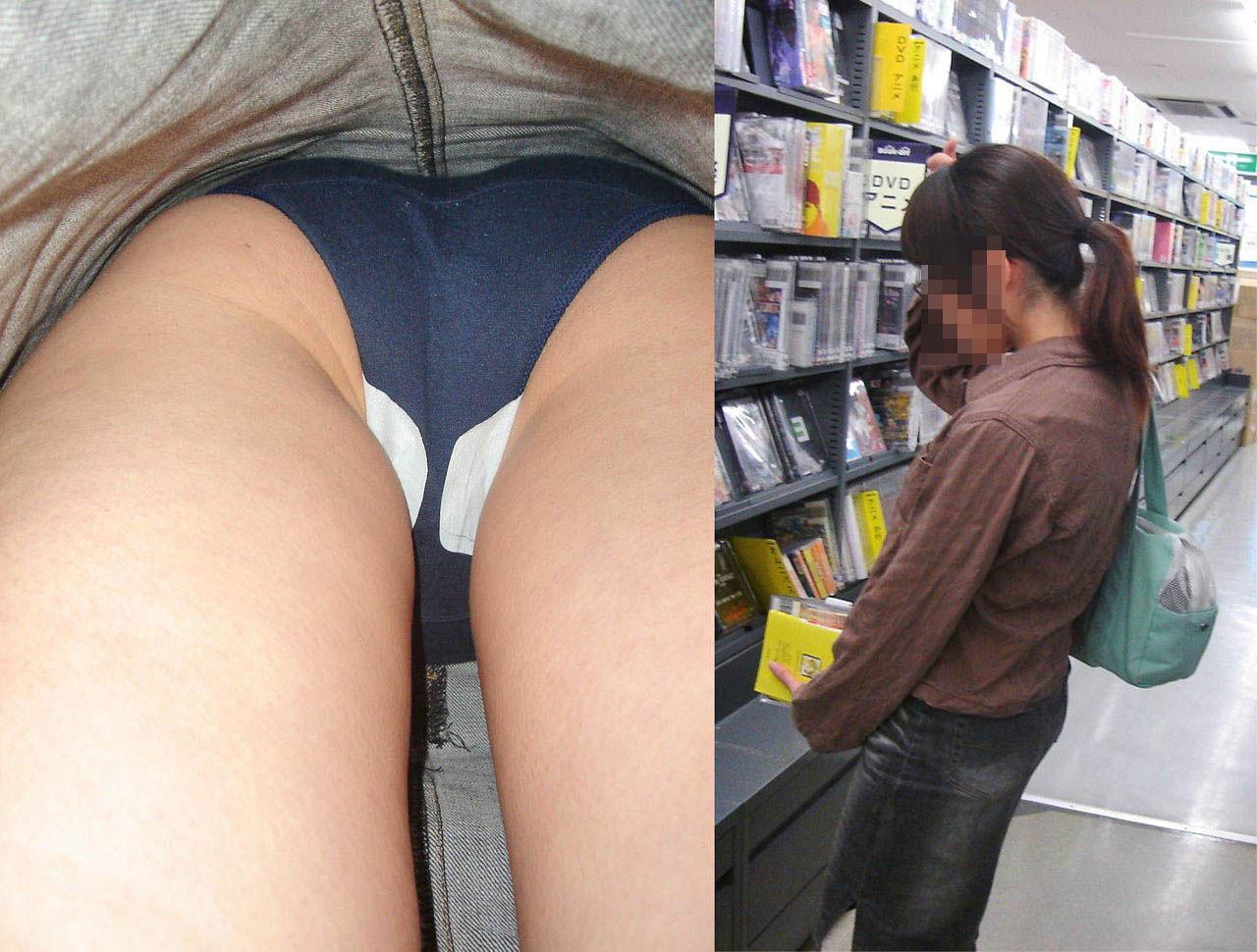 レンタルビデオ店でスカートの中身を撮影