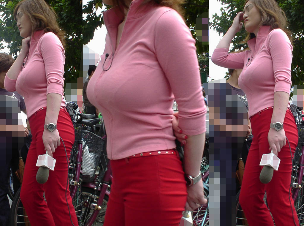 ピチピチした服を着た巨乳女