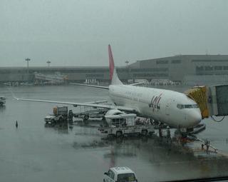 成田空港発上海浦東空港行きの日本航空877便