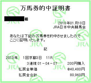 シンザン記念 3連複404.8倍×200円
