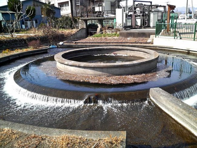 円筒分水と水門