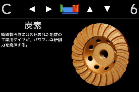 右上の上下ボタンで、その元素を用いた製品なども知ることができる。