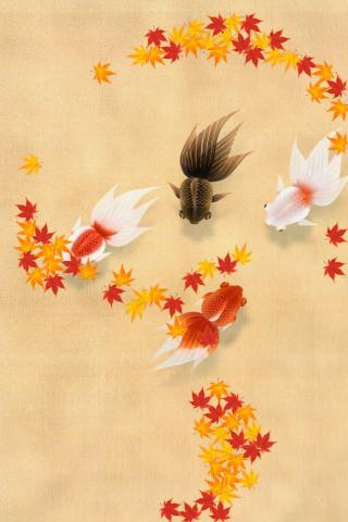 秋を感じさせる背景と餌。季節や気分に応じて楽しもう。