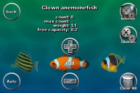 熱帯魚の設定画面。クマノミのウェイトは1.1。