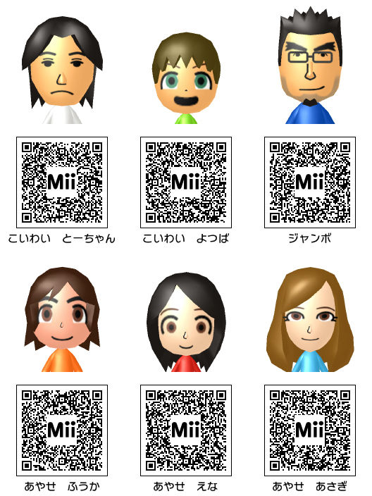 Anime Mii Characters 3ds : Ds mii qr codes anime car interior design